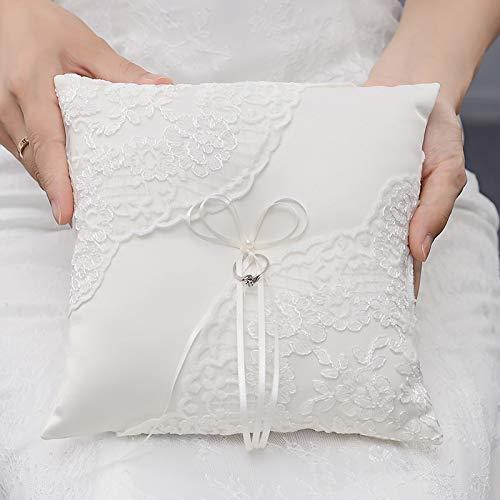 1 stück Spitze Faux Perlen Dekorative Hochzeit Ring Kissen Braut Zeremonie Tasche Kissen Bearer Satin Bänder Valentine'S Geschenk 20x20 cm -