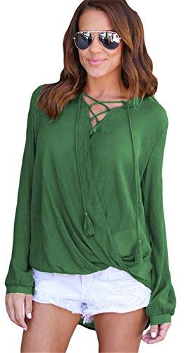 szivyshi Sexy Manches Longues Lacé Lacets Laçage Tassle à Nouer Encolure Profonde Col en V Drapé Drapée Devant Blouse Chemisier Shirt Chemise Haut Top Vert