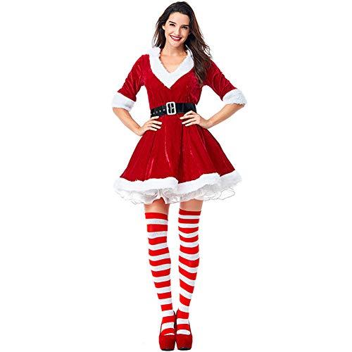 YFCH Sexy Weihnachtsfrau Kostüm Damen Weihnachten Damenkleid Weihnachtskleid Nikolaus Kleid Weihnachtskostüm Frauen