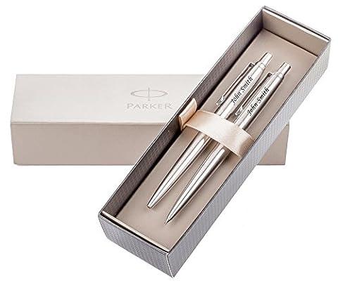 PaRKER Stylo bille personnalisé &- mine JOTTER boîte cadeau Gravure Laser gratuite avec votre texte ou nom, idéal pour Noël, Anniversaire, Anniversaire de mariage ou cadeau pour un cadeau idéal pour Femme Homme-Argent
