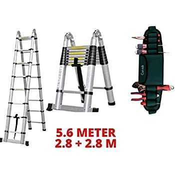 Corvids 5.6m (2.8 + 2.8m), 19 ft A-Type Extension Ladder Compact Aluminium Telescopic Ladder with Mag Hinge & Ultra-Stabilizer Rod, 18-Steps Foldable Multipurpose Ladder