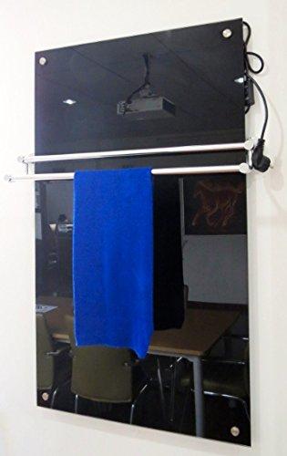 Télécommande Chauffage infrarouge en verre avec porte-serviettes Noir 450 W 100 x 60 cm avec montage mural 98% la chaleur Efficacité 100.000std Durée de vie garantie 5 ans