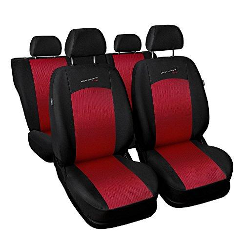 Saferide | Universal Rot Komplettset PKW Sitzbezug für Auto Sitzschoner Set Schonbezüge Autositz Autositzbezüge Sitzauflagen Sitzschutz Sport Line