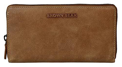 4da5818f24308 Brown Bear Coole Design Geldbörse Damen Leder Braun Camel Vintage mit  umlaufenden Reißverschluss Frauen Geldbeutel Portemonnaie