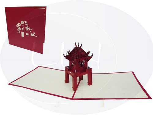 POP UP Architektur 3D Karte Pagode, Pagoda, Buddhistische Tempel (#166)