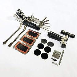 COZYROOMY Kit Reparación Herramientas Bicicleta,16 en 1 Herramienta multifunción, Herramienta de la Cadena de la Bici,Palanca de neumático,Parche de Autoadhesivo, 5mm Herramienta Repuesto.