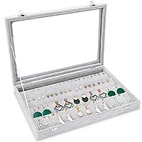 Basuwell Meshela Velvet Glass Earrings Pendant Display Storage Holder Jewellery Earring Storage Box Case Organiser