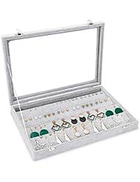 Meshela Velvet Glass Earrings Pendant Display Storage Holder Jewellery Earring Storage Box Case Organiser