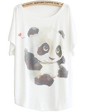 Luna et Margarita Camiseta mujer blanca manga del batwing patrón cuello redondo mezcla de algodón tamaño 36 38...