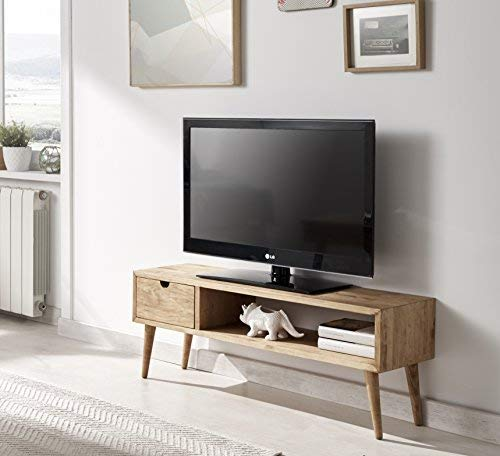Hogar24.es-Mesa televisión, mueble tv salón diseño vintage, cajón y estante, madera maciza natural, fabricación artesanal. 100 cm x 40 cm x 30 cm