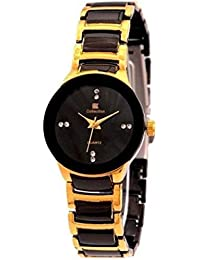 IIK New Collation Stylish And Attractive Small Black Gold Colour Watch For Men And Boy