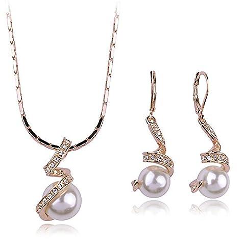 Pendentif Perle en spirale & bijoux boucles d'oreilles plaqué or Rose Set fait avec cristal SWAROVSKI ELEMENT