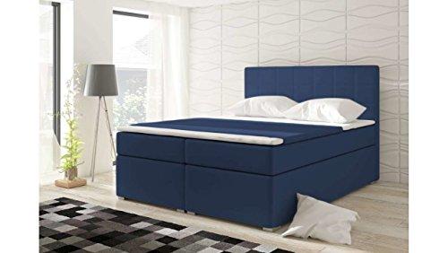 JUSTyou Alicie Boxspringbett Continentalbett Doppelbett Kunstleder (HxBxT): 126x160x200 cm Blau
