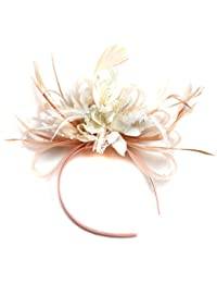 c2c5c154984fa Nude Salmon and Cream Ivory Feather Hair Fascinator Headband Wedding Royal Ascot  Races Ladies