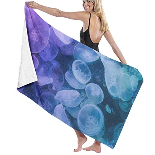 xcvgcxcvasda Serviette de bain, Glowing Jellyfish Blue Personalized Custom Women Men Quick Dry Lightweight Beach & Bath Blanket Great for Beach Trips, Pool, Swimming and Camping 31