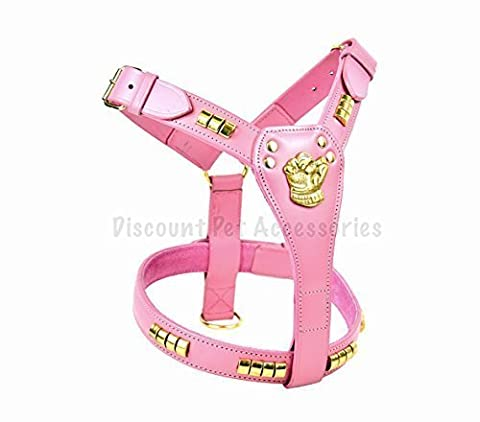PINK STAFFORDSHIRE BULL TERRIER STAFF LEATHER DOG HARNESS BRASS PADDED