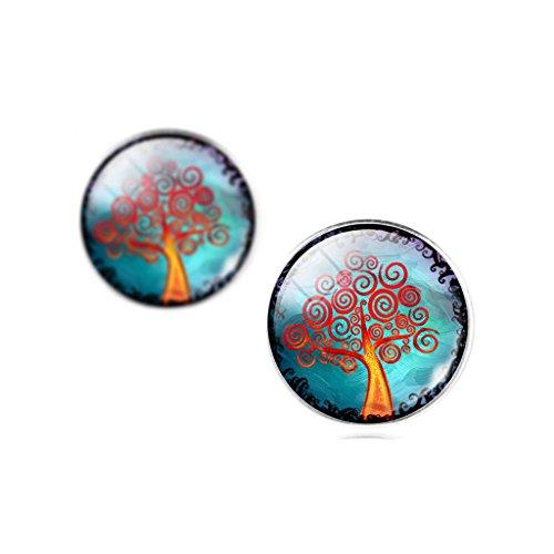 Jiayiqi L'arbre De Vie Temps Strass Stud Boucle D'Oreilles Bijoux Fantaisie Femmes No 5