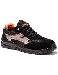 Zapatillas de seguridad laboral de hombre Zapatos de trabajo ultraligeros con puntera de acero 5553 Black Hammer escaladoras tobilleras