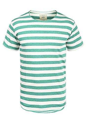 Redefined Rebel Milo Herren T-Shirt Kurzarm Shirt Streifenshirt Mit Streifen Und Rundhalsausschnitt 100% Baumwolle, Größe:XXL, Farbe:Deep Green
