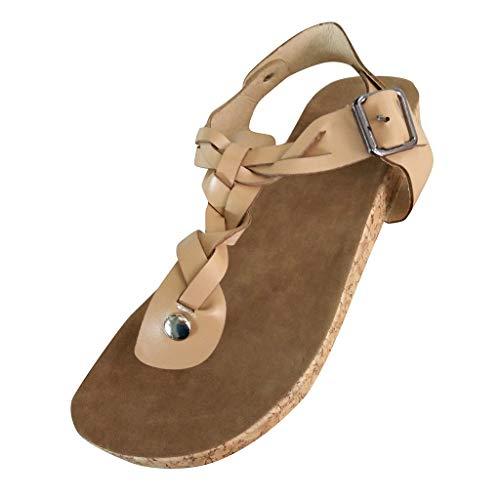 Damen Sandalen Flach Fußbett Schuhe Pantoletten Elegant Zehentrenner Plateauschuhe Bequeme Kork Flip Flops Sommerschuhe (EU:36, Beige) -