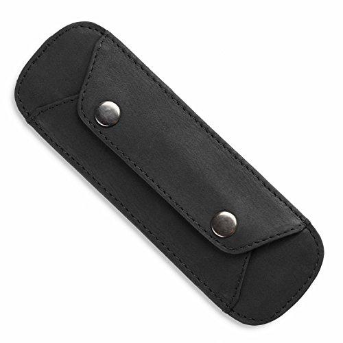 LEABAGS Premium Schulterpolster aus echt Leder mit Antirutsch-Auflage - Schwarz