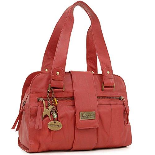 Handtasche - Leder - Zara von Catwalk Collection - GRÖßE: B: 32.5 H: 23 T: 13 cm Rot