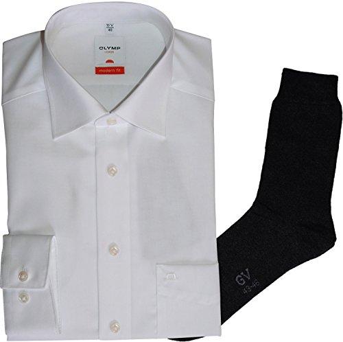 Olymp Hemd Luxor Modern Fit - weiß, langarm, Kent Kragen + 1 Paar hochwertige Socken, Bundle Weiß