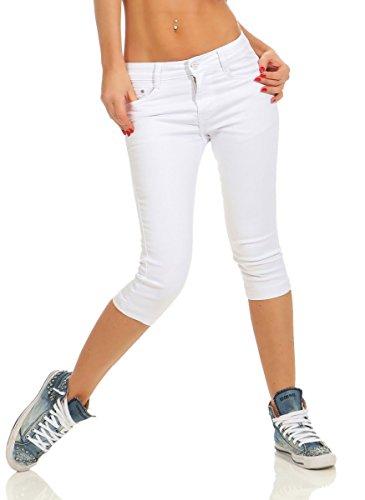 Fashion4Young 11541 Damen Caprihose Slimline Capri Hose Sommerhose Pants 3/4 Hose Slimfit (weiß, 46)