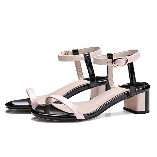 estate sandali di di periodo cuoio fibbia modo grosse TMKOO con le scarpe Rosa con colore femminile le nuovi gambe coreano 2017 di pqtnPAzw5