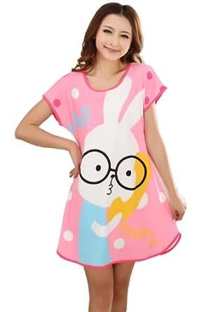 Wuiyepo Lunettes de lapin manches courtes Chemises de nuit de mode Chemises de nuit