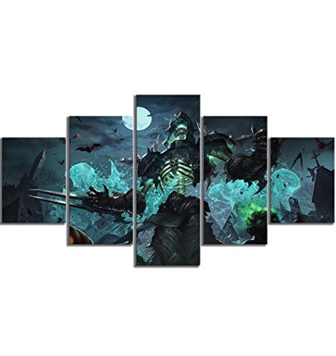 XYZNB Leinwanddrucke 5 Stücke LOL Meister Der Schatten League of Legends Halloween Skins Spiel Poster Leinwand Kunst Dekoration (Size C) Kein Rahmen (Legends Of Halloween-league Keine)