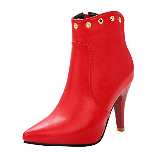 Mee Shoes Damen spitz high heels Reißverschluss Ankel Boots Rot