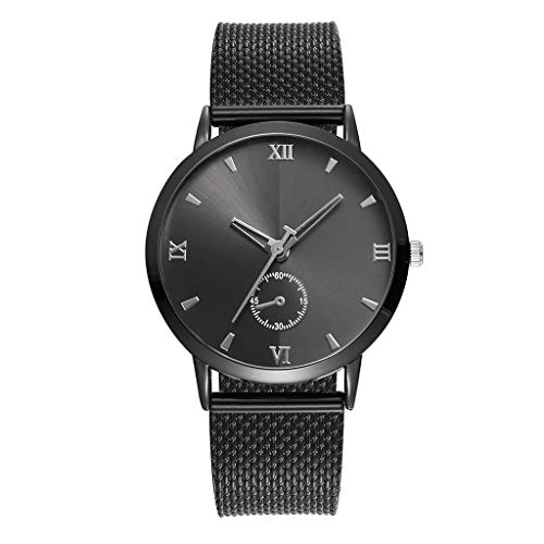 Sale Clearance Fashion Womens Quartz Watches,Ladies Watches Casual Business Sports Round Glass Mirror Dial Stainless Steel Belt Mesh Unisex Fine Analog Watch (C)