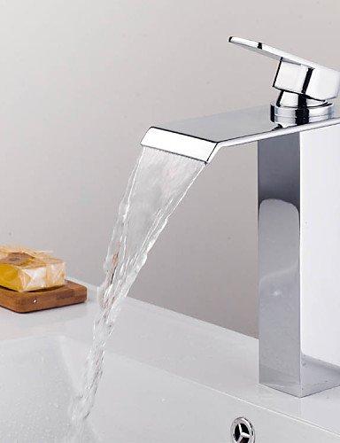 KISSRAIN® Doccia rubinetto / vasca da bagno rubinetto Mixer- contemporanea - Cascata - Ottone (Chrome)