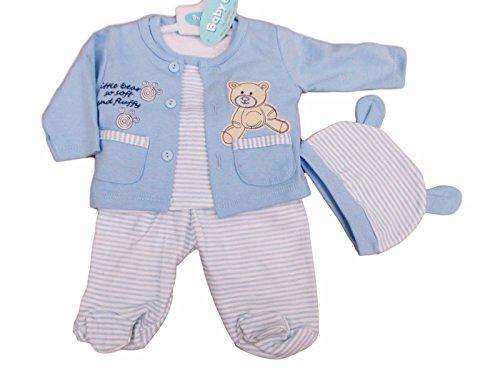 BNWT Tiny Baby Reborn prematuri neonato bambino 4pezzi Teddy tuta vestiti