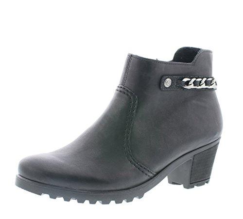 Rieker Damen Ankle Boots Y8090,Frauen Stiefel,Ankle Boot,Halbstiefel,Damenstiefelette,Bootie,knöchelhoch,Trichterabsatz 5.2cm,schwarz/schwarz, EU 38