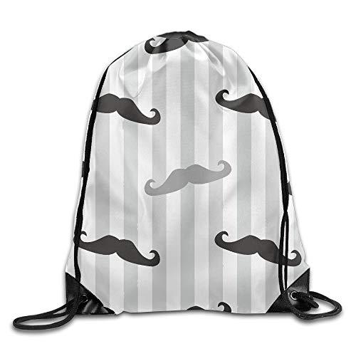 Etryrt Prämie Turnbeutel/Sportbeutel, Retro Gentleman Mustaches Stripes Unisex Outdoor Gym Sack Bag Travel Drawstring Backpack Bag