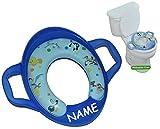 Toilettenaufsatz / Toilettensitz SOFT mit Griff und Führungsring - Looney Tunes blau incl. Name - WC Toilettentrainer für Jungen Standardgröße weich gepolstert - Klositz Baby - Tweety Bugs Bunny Taz