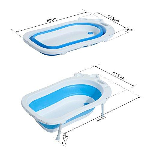 Homcom® Babybadewanne Babywanne zusammenklappbar mit Stützbeinen Seifenablage 89cm (Blau)