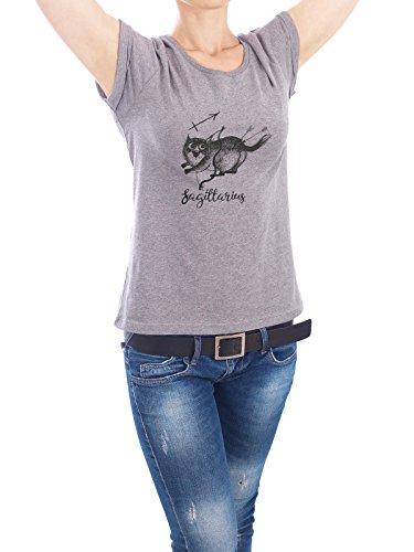 "Design T-Shirt Frauen Earth Positive ""Sagittarius cat"" - stylisches Shirt Tiere Comic von Tatiana Davidova Grau"
