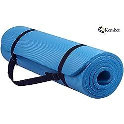 Kemket Esterilla antideslizante para ejercicios, fitness o yoga, 10 y 15 mm de alta densidad, anti-roturas, con correa de transporte, azul