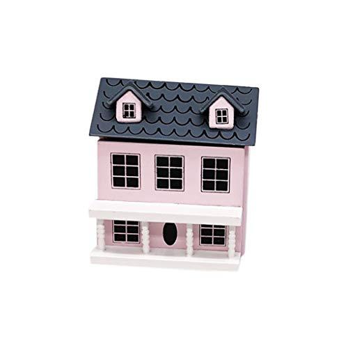 Dapei Mini Puppenhaus Miniatur Villa Haus Miniatur Kinder Weihnachten Spielzeug Geschenk für Jungen und Mädchen - Rosa