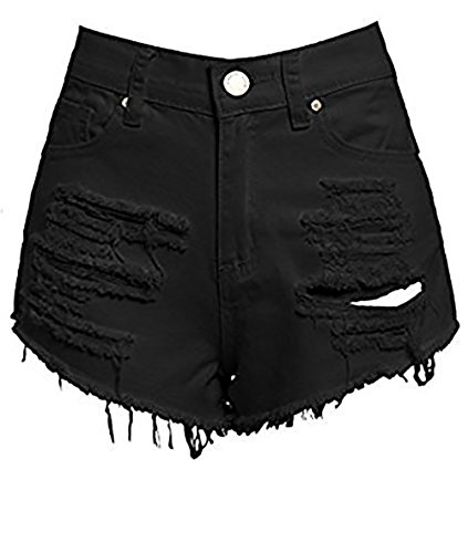 SS7 New Women's High Waisted Ripped Shorts, Black, Sizes 6 to 16