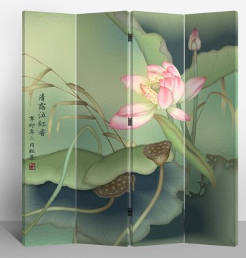Fine Asianliving – Paravent - Raumteiler – Sichtschutz - Trennwand –Faltbar - Spanische Wand – Leinwand - Artprint – Canvas – Doppelseitig – Bedruckte Leinwand - 4 Fach (180 x 160 cm) - 135