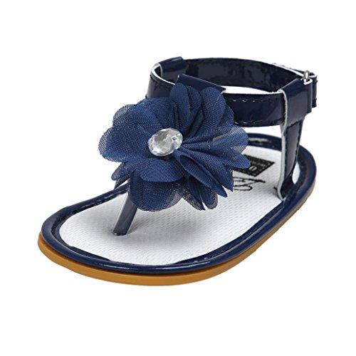 kingko® Baby Blumen Perlen Sandelholz Kleinkind Prinzessin erste Wanderer Mädchen Kind Schuhe Blau