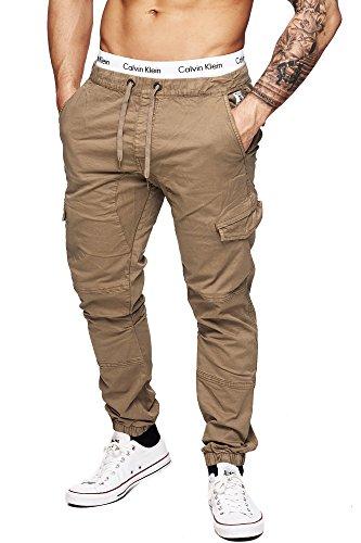 INDICODE Uomo Pantaloni Cargo Montagna Epoca Cargo Uomini Pantaloni Men Army Ranger 5851 Chino Pants Trousers Off White L