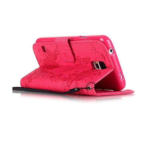 Apple iPhone 5/5S/SE Wallet Case - Felfy Luxe Bookstyle Quatre Feuilles Motif Flip-style Magnetic Closure PU Cuir Étui Portefeuille Housse Portefeuille Relief Coque Housse Swag Case pour Apple iPhone  Bling Rose Rouge
