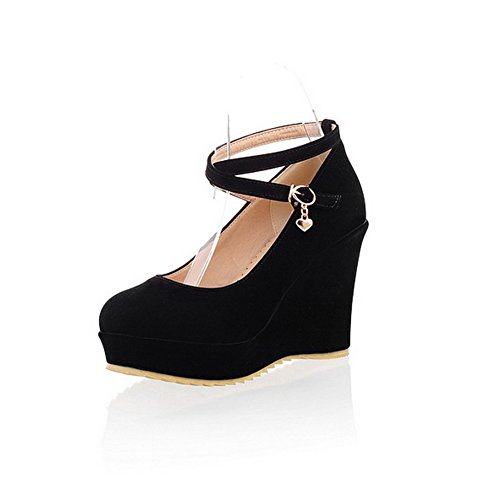 balamasa Damen Schnalle High Heels Massiv Pumpen Schuhe, Schwarz - schwarz - Größe: 35.5 -