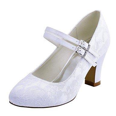 RTRY Donna Scarpe Matrimonio Pompa Di Base In Raso Elasticizzato Caduta Di Primavera Party Di Nozze &Amp; Sera Crystal Chunky Heel Bianco Avorio 2A-2 3/4In US7.5 / EU38 / UK5.5 / CN38