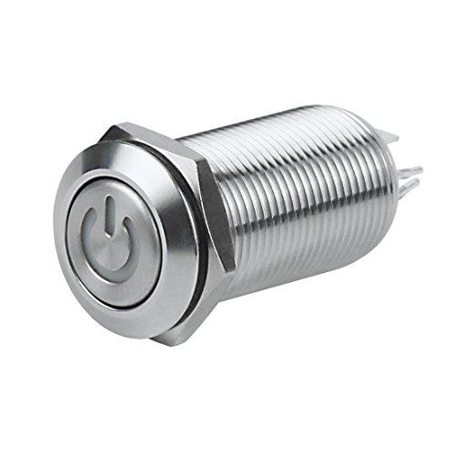 Larcele 5 Stücke Wasserdicht Nicht Momentan Metall Druckschalter Runde Elektrische DIY Schalter mit Kontrollleuchte JSANKG-03 (Licht Grün,12mm) -